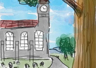 The Village Church. Quick digital sketch.